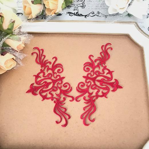 アイロン接着できるレッドの刺繍ワッペンモチーフセットです モチーフ ワッペン アイロン用 卸直営 貼り付け アップリケ レッド 舞台衣装 おトク 赤 衣装 レオタード ハンドメイド パーツ バレエ衣装