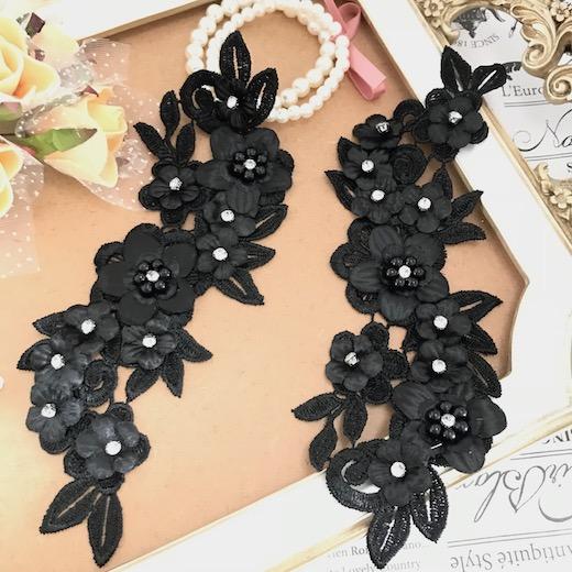 モチーフレース3D お花 ストーン付き ペアセット ハンドメイド パーツ 装飾 黒