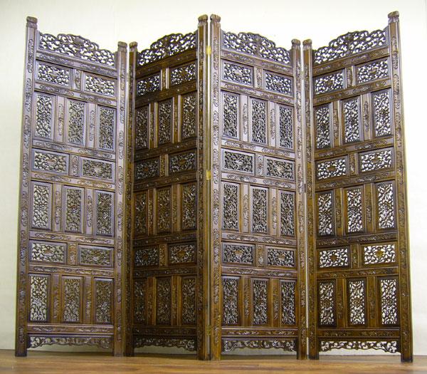 アジアン家具 菩提樹4連スクリーン 送料無料 インテリア家具 アンティーク家具 antique モダンチャイニーズ 彫刻家具