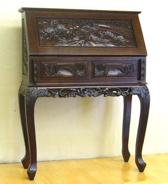 Elmclub: Hand Carved Writing Bureau Asian Furniture