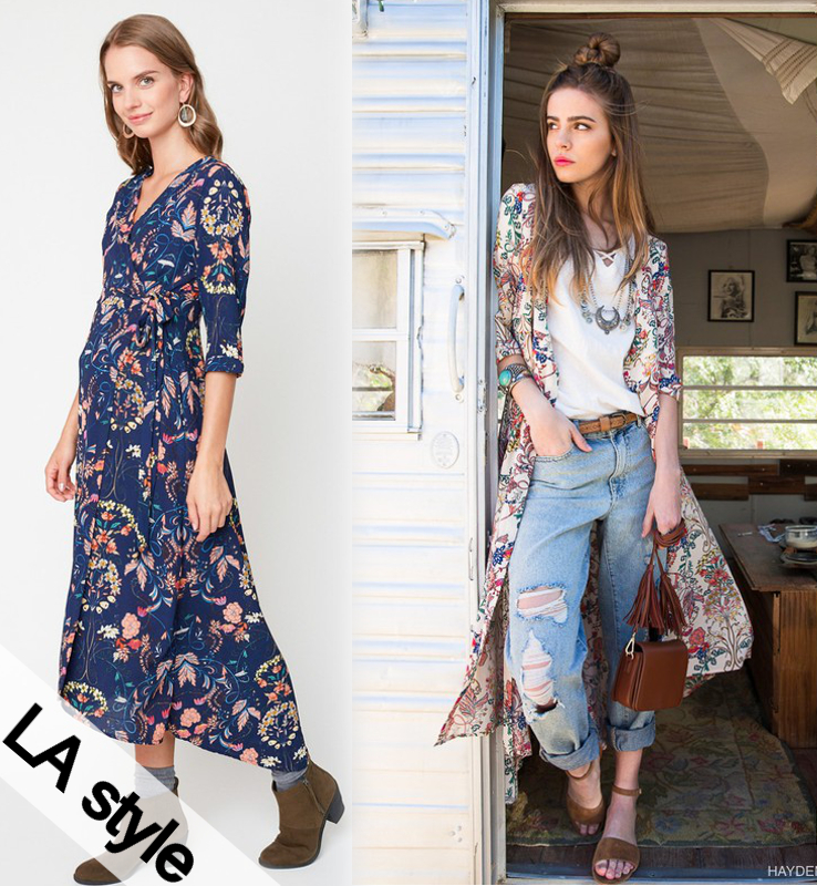 [LA style/LAスタイル] FLORAL MAXI WRAP DRESS / 花柄 ラップ マキシ ワンピース ガウン カーディガン カシュクール