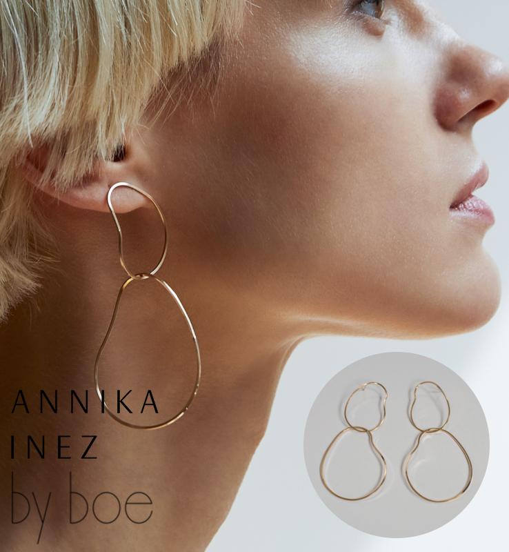 [BY BOE:ANNIKA INEZ/バイボー]DOUBLE GENTLE CURVE EARRINGS/ ピアス ダブル 2連 ワイヤー フープ