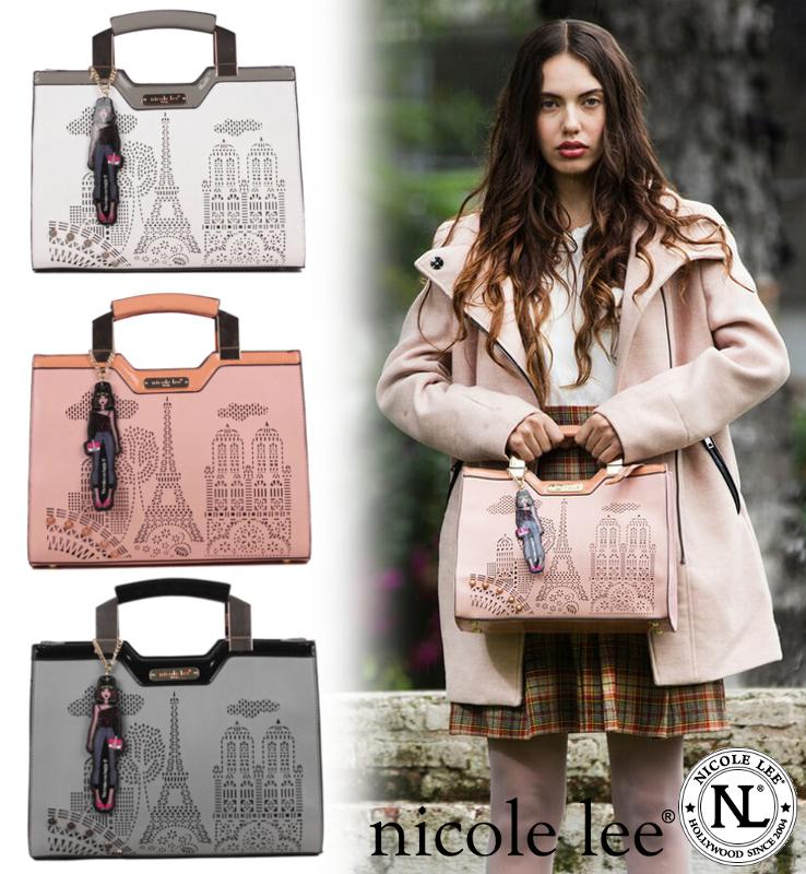 [NICOLE LEE/ニコールリー]LATONA MINI BRIEFCASE BAG / ハンドバッグ 2way ショルダーバッグ パンチング 合皮 フェイクレザー