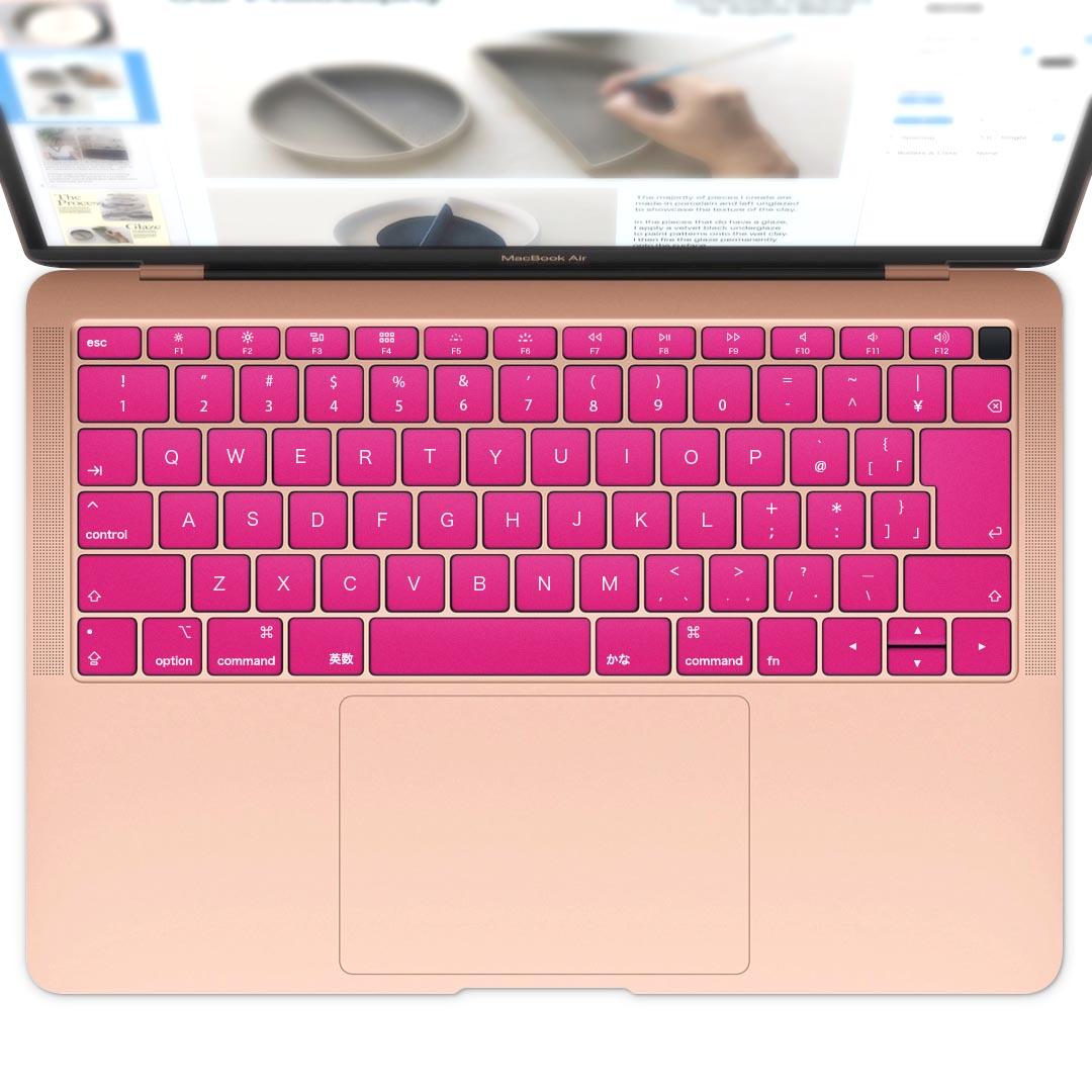 キーボード用スキンシール MacBook 送料無料お手入れ要らず Air 13inch 2018 専用 キートップ ステッカー A1932 Apple シンプル 無地 ピンク エア アクセサリー 008956 保護 注文後の変更キャンセル返品 マックブック ノートパソコン