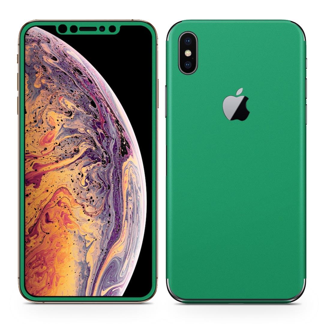 全面スキンシール ステッカー 保護シール 正面 限定特価 側面 背面 スマホ スマートフォン igsticker iPhone Xs Max iphonexsmax 対応 スマホケース 人気 スマホカバー 情熱セール 単色 シンプル アイフォン アップル アイフォーン apple 012239 緑 ケース 液晶 フル