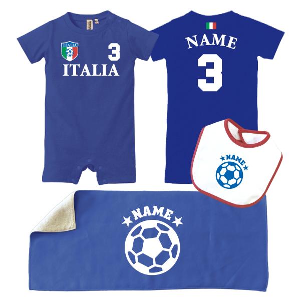 出産祝い お名前入りサッカー3点セット「イタリア」/イタリア代表/ロンパース/フェイスタオル/ベビースタイ、80cm【出産祝い 名入れ】名前入り、おなまえ