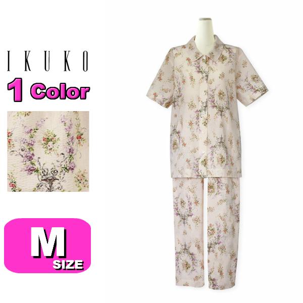 【IKUKO/イクコ】【送料無料】BN200PF ローンリップル花柄 半袖襟付きパジャマ