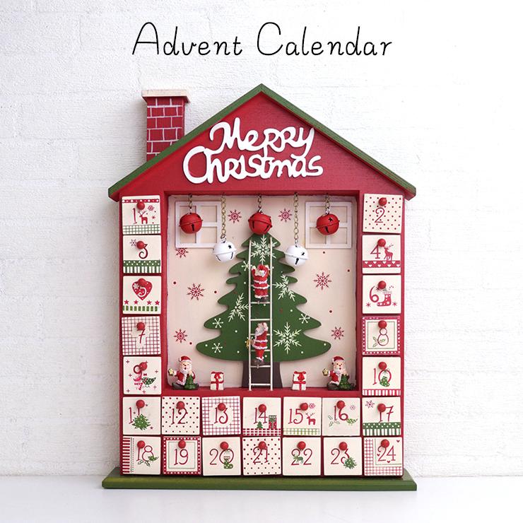ウッドアドベントカレンダー Xmas 木製 C-7765 薄型 カラフル レンガ えんとつ レッド 木のおもちゃ クリスマス