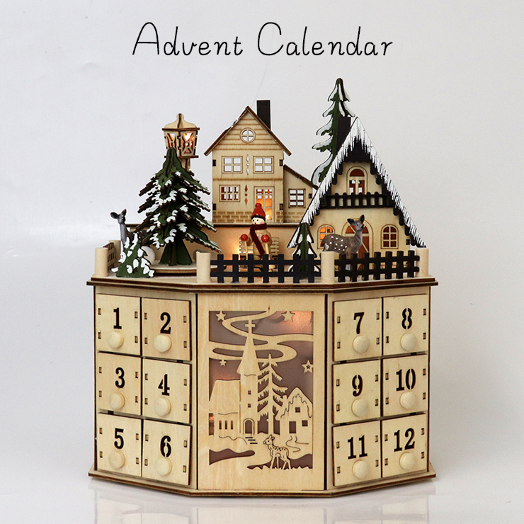 ウッドアドベントカレンダー NA Xmas 木製 C-14015 薄型 ベージュ 街灯 ナチュラル 木のおもちゃ クリスマス 回転 家 おうち ハウス 回る