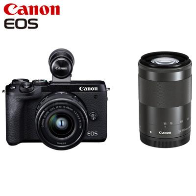 【返品OK!条件付】Canon キヤノン ミラーレス一眼カメラ EOS M6 Mark II ダブルズームEVFキット EOSM6MK2BK-WZEVFK ブラック【KK9N0D18P】【80サイズ】