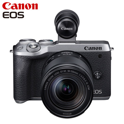 【返品OK!条件付】Canon キヤノン ミラーレス一眼カメラ EOS M6 Mark II EF-M18-150 IS STM レンズEVFキット EOSM6MK2SL-18150EVFK シルバー【KK9N0D18P】【80サイズ】