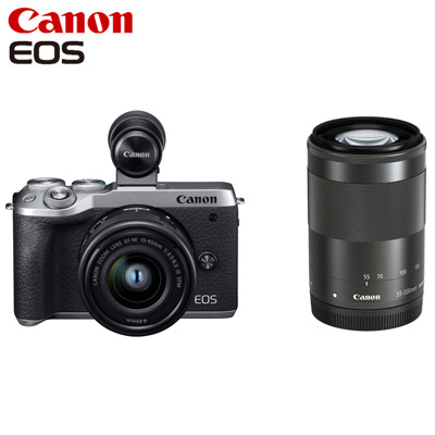 【返品OK!条件付】Canon キヤノン ミラーレス一眼カメラ EOS M6 Mark II ダブルズームEVFキット EOSM6MK2SL-WZEVFK シルバー【KK9N0D18P】【80サイズ】