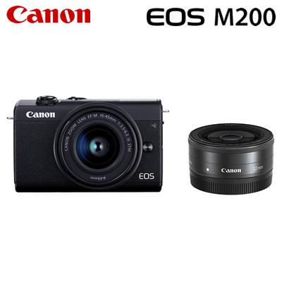 【キャッシュレス5%還元店】【返品OK!条件付】キヤノン ミラーレス一眼 EOS M200 ダブルレンズキット デジタルカメラ EOSM200BK-WLK ブラック 3699C008 Canon【KK9N0D18P】【80サイズ】