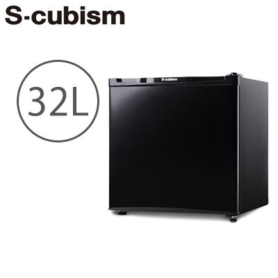 【返品OK!条件付】エスキュービズム 冷凍庫 32L 1ドア 左右ドア開き対応 直冷式 WFR-1032BK ブラック S-cubism 【KK9N0D18P】【160サイズ】