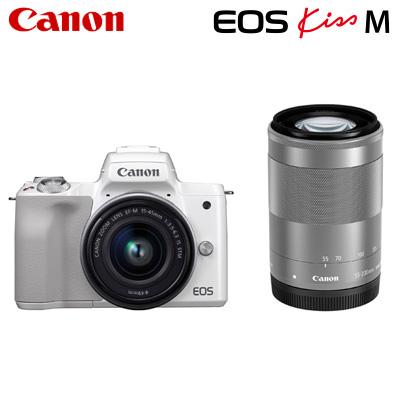【返品OK!条件付】Canon キヤノン ミラーレス一眼カメラ EOS Kiss M ダブルズームキット EOSKissM-WZK-WH ホワイト【KK9N0D18P】【80サイズ】