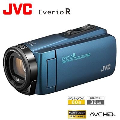 【キャッシュレス5%還元店】【返品OK!条件付】JVC ビデオカメラ EverioR エブリオ 防水・防塵・耐衝撃 32GB GZ-R480-A ネイビーブルー【KK9N0D18P】【80サイズ】