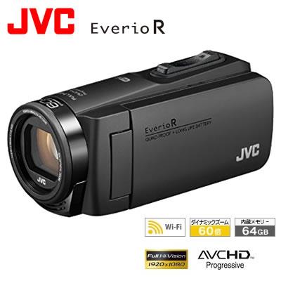【キャッシュレス5%還元店】【返品OK!条件付】JVC ビデオカメラ EverioR エブリオ 防水・防塵・耐衝撃 64GB Wi-Fi 内蔵 GZ-RX680-B マットブラック【KK9N0D18P】【80サイズ】
