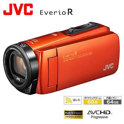 【返品OK!条件付】JVC ビデオカメラ EverioR エブリオ 防水・防塵・耐衝撃 64GB Wi-Fi 内蔵 GZ-RX680-D ブラッドオレンジ【KK9N0D18P】【80サイズ】