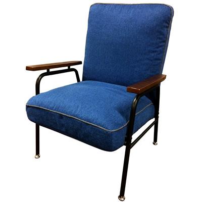 【返品OK!条件付】Harmonia ハルモニア 木肘付スチールソファ ブルー 83-868 椅子 組立品 ヤマソロ【KK9N0D18P】【200サイズ】