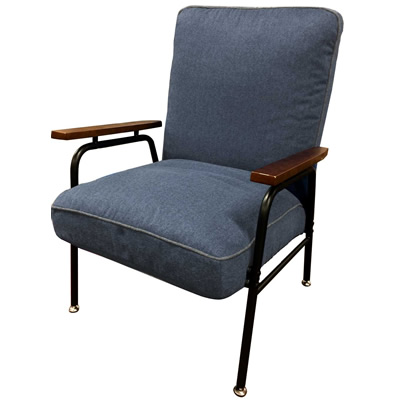 【返品OK!条件付】Harmonia ハルモニア 木肘付スチールソファ グレー 83-869 椅子 組立品 ヤマソロ【KK9N0D18P】【200サイズ】