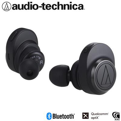 【返品OK!条件付】オーディオテクニカ 完全ワイヤレスイヤホン Bluetooth5.0 aptX対応 トゥルーワイヤレス ATH-CKR7TW-BK ブラック【KK9N0D18P】【60サイズ】