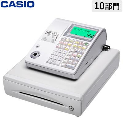 【返品OK!条件付】カシオ 電子レジスター レジスター TE-400-WE ホワイト 軽減税率対策補助金対象【KK9N0D18P】【120サイズ】
