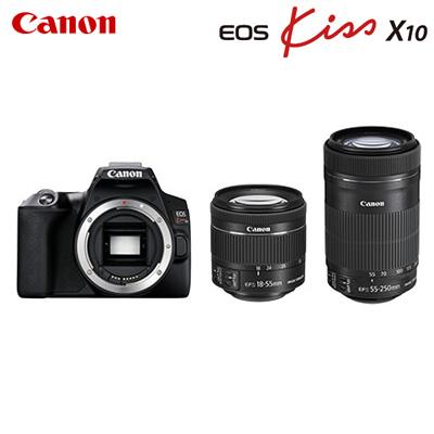 【キャッシュレス5%還元店】【返品OK!条件付】キヤノン デジタル一眼レフカメラ EOS Kiss X10 ダブルズームキット EOSKISSX10BK-WKIT ブラック CANON【KK9N0D18P】【80サイズ】