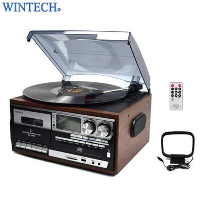 【キャッシュレス5%還元店】【返品OK!条件付】WINTECH スピーカー搭載 マルチオーディオプレーヤー レコードプレーヤー CD ラジオ FMワイドバンド対応 KRP-308MS ウィンテック【KK9N0D18P】【100サイズ】