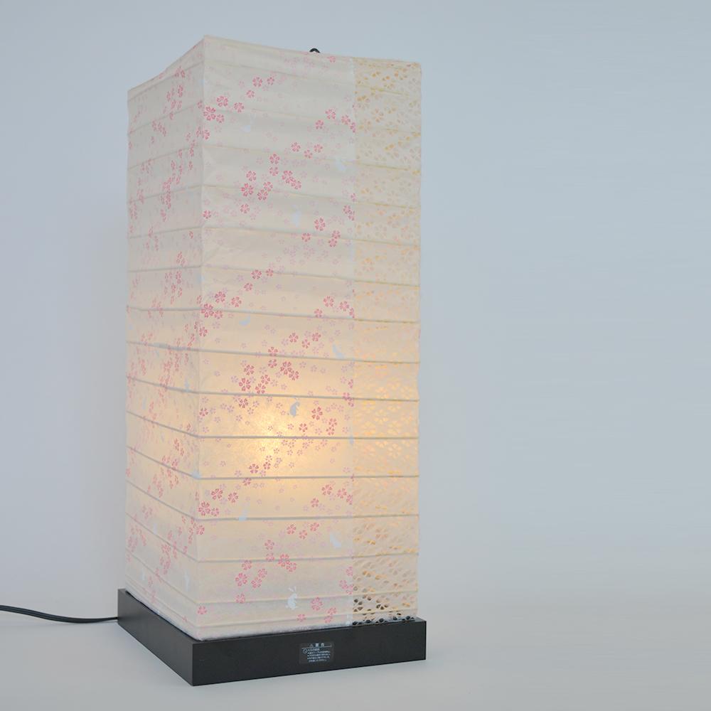 【キャッシュレス5%還元店】【返品OK!条件付】彩光デザイン 和照明 和紙照明 フロアスタンドライト 【白熱電球付き】 花うさぎピンク×小梅白 日本製 和風照明 SS-3082 【KK9N0D18P】【160サイズ】