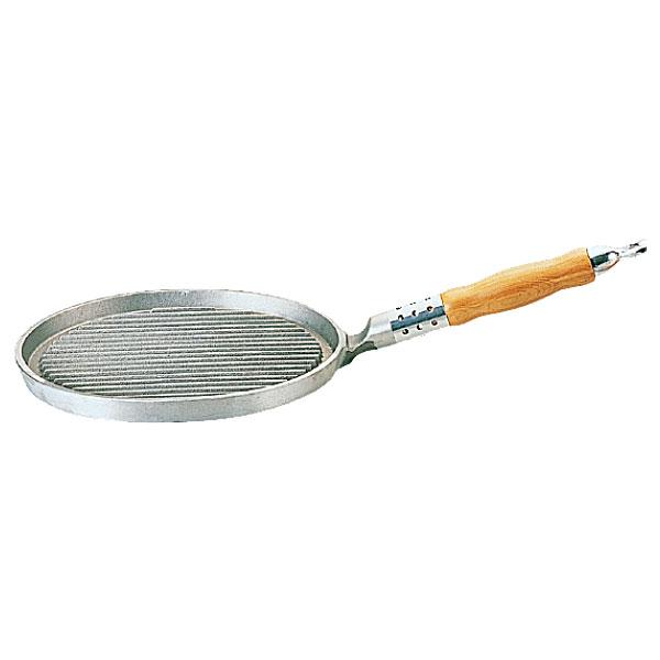 【送料無料】アルミ鋳物 木柄小判型グリルパン 小_片手グリルパン