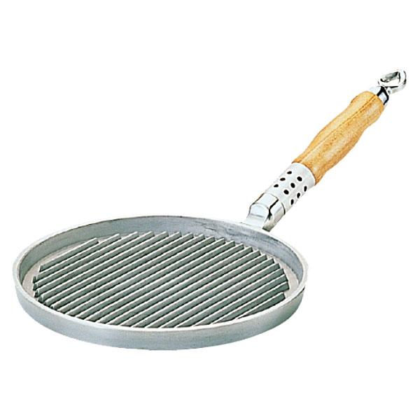 【送料無料】アルミ鋳物 木柄丸型グリルパン 24cm_片手グリルパン