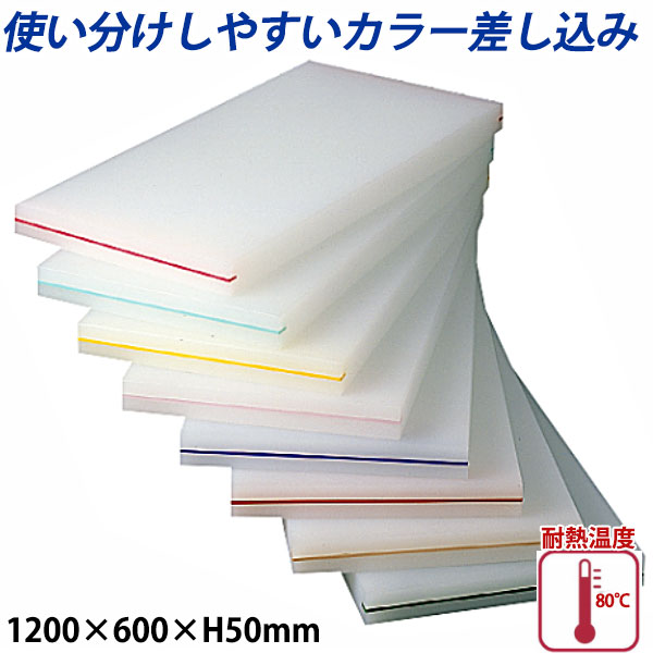 【送料無料】K型カラー差し込み まな板(両面シボ付) 厚さ50mm K-11B_1200×600×H50mm カラーまな板 業務用 給食施設 食品工場
