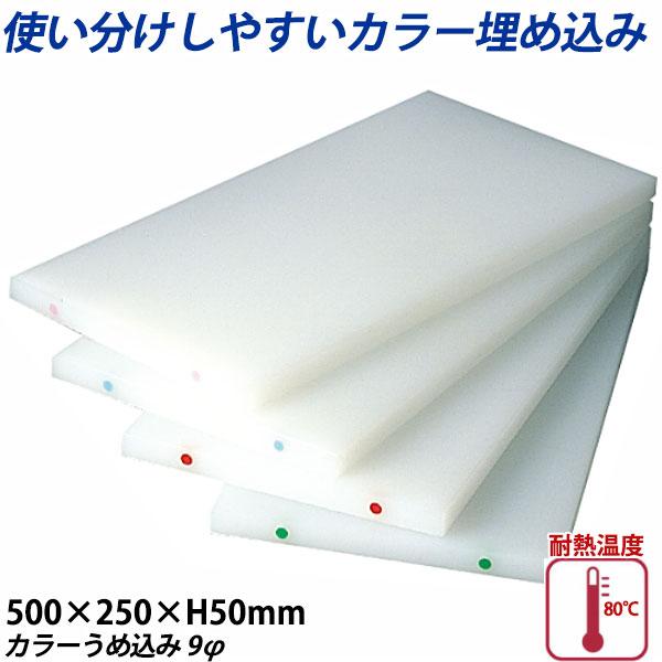 【送料無料】K型カラーうめ込み まな板(両面シボ付) 厚さ50mm K-1(カラーうめ込み9φ)_500×250×H50mm カラーまな板 業務用 給食施設 食品工場