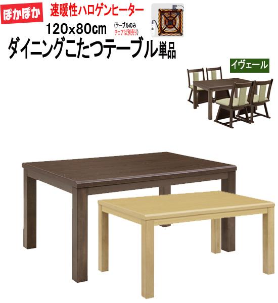 ハイタイプこたつ ダイニングこたつテーブル単品 120x80cm(イヴェール2)sw119-2 [te]