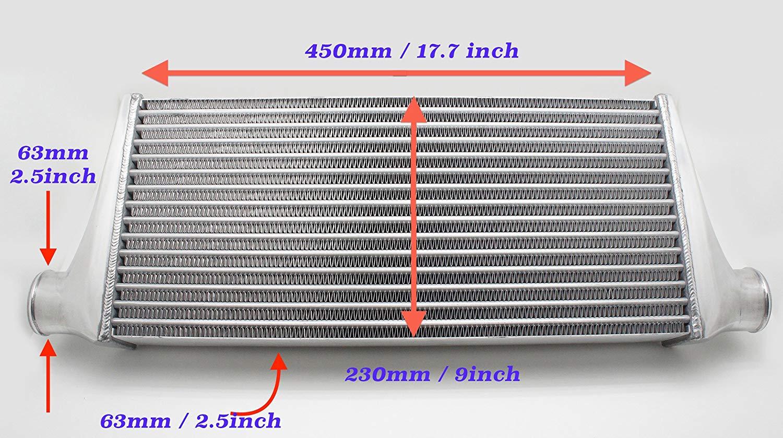 軽自動車用 アルミ インタークーラー 汎用コア 450*230*66mm K-Car最適 IN/OUT:63mm