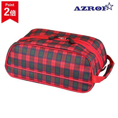 爆売り 色柄21タイプ シューズケース AZROF アズロフ 28cmまで対応 AZ-SC02-152 レッドチェック シューズ入れ メンズ シューズバッグ ストア レディース