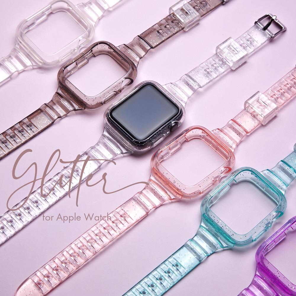 アップルウォッチ全シリーズ対応 アップルウォッチ バンド 透明 レディース かわいい 人気 おしゃれ クリア TPU 日本正規代理店品 42mm watch 44mm 40mm 訳あり商品 カバー 38mm 一体型 Apple