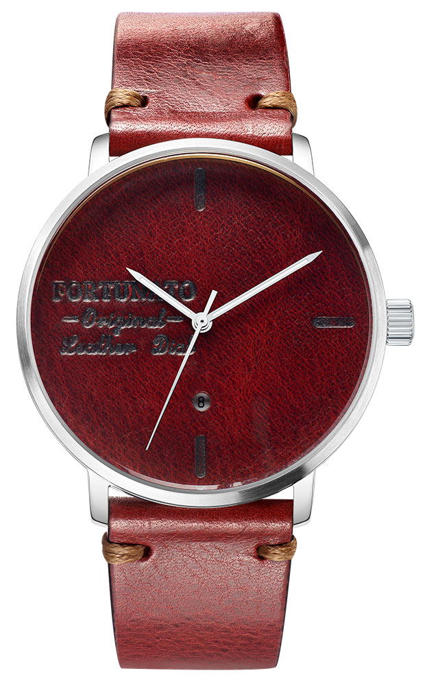 FORTUNATO フォルトゥナート Antique Wax Dial Collection メンズ 腕時計 44mm レザーダイヤル レッド/シルバー