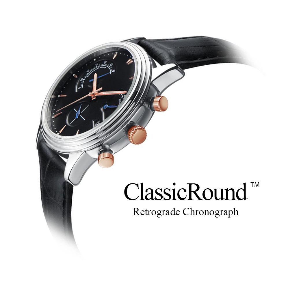 腕時計 メンズ クロノグラフ レトログラード 革バンド ClassicRound 35mm