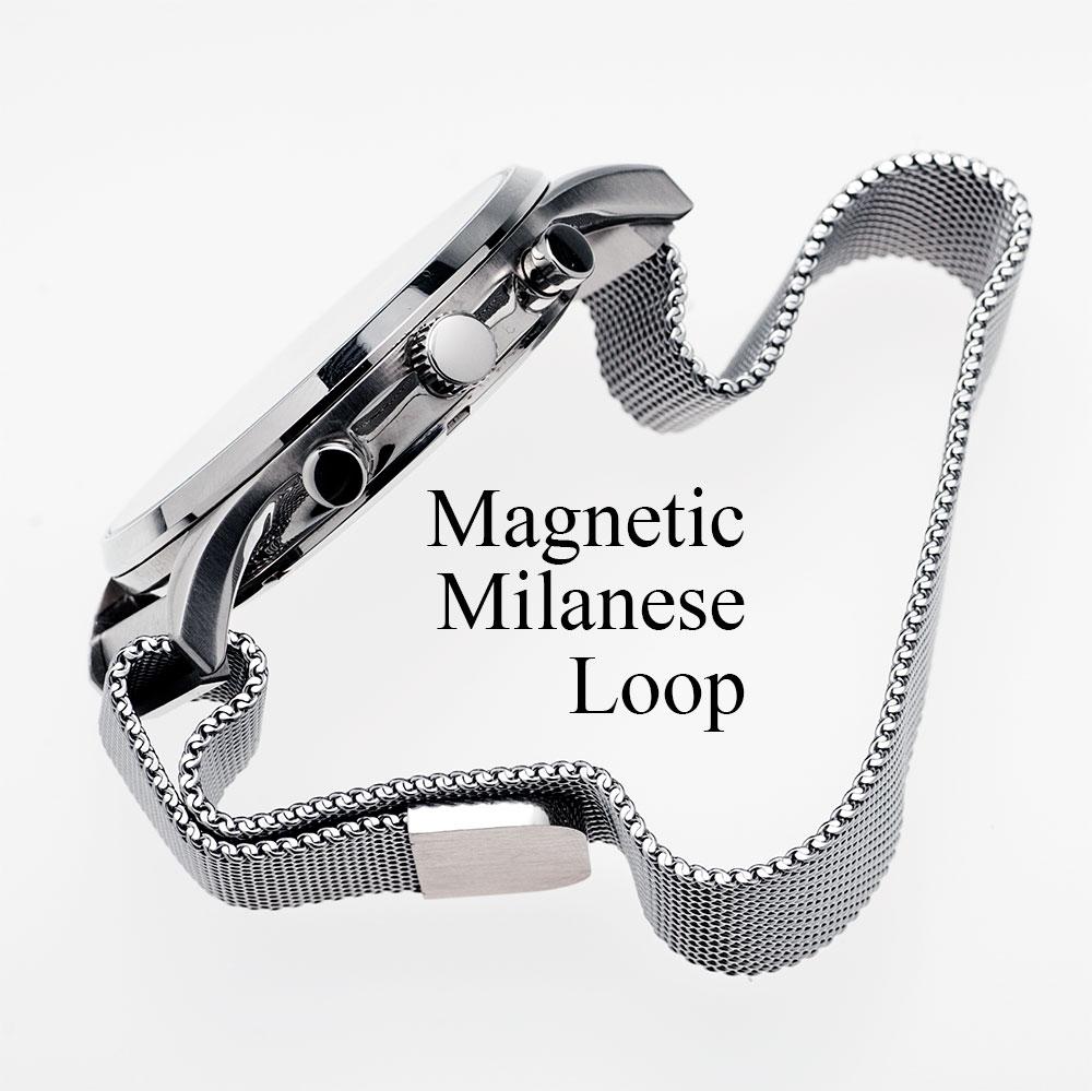時計バンド 時計ベルト 時計 ベルト 18mm 20mm 22mm お買得 シルバー ブラック バンド 腕時計 ミラネーゼループ マグネティック 有名な