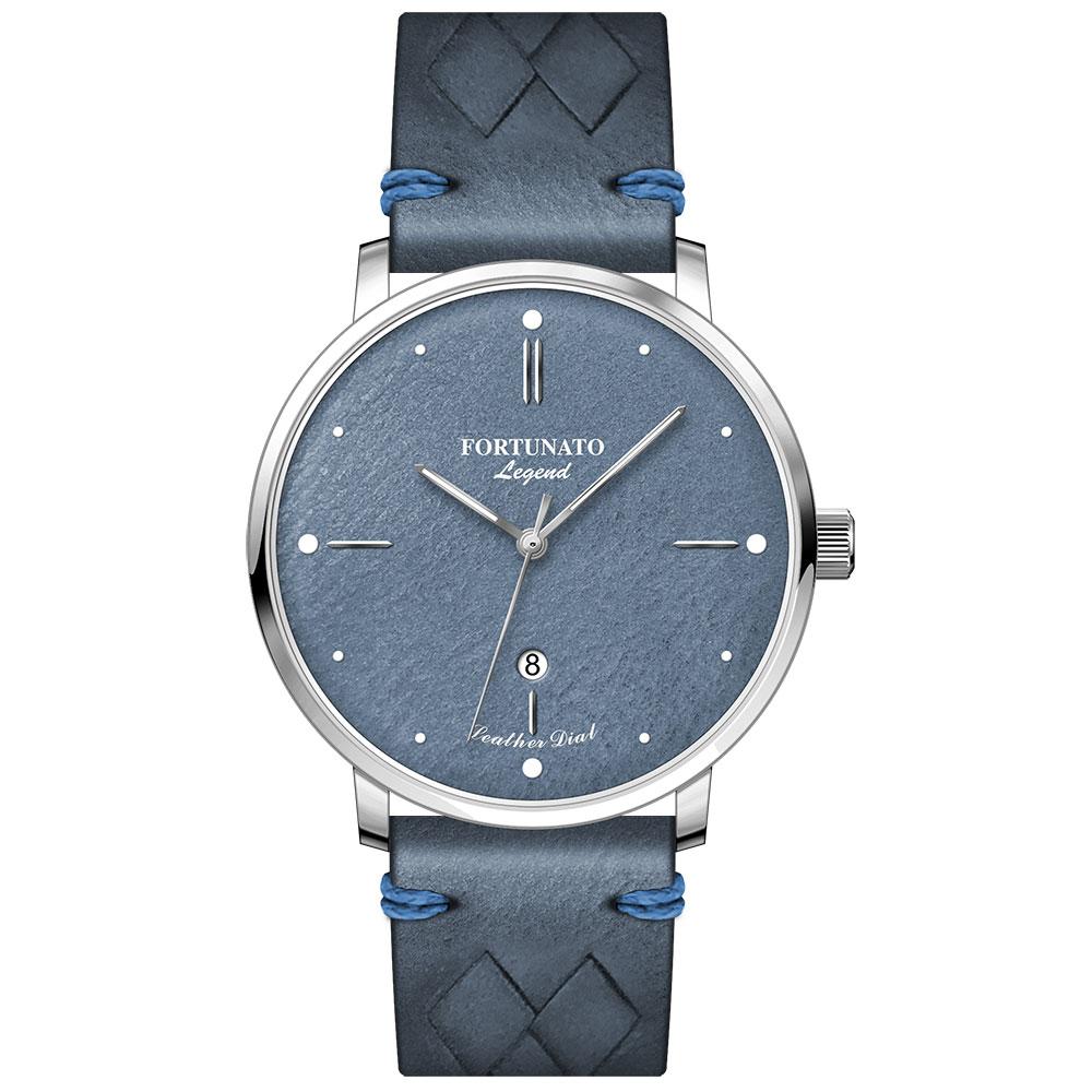 FORTUNATO フォルトゥナート Legend Collection メンズ 腕時計 44mm レザーダイヤル ブルー/シルバー