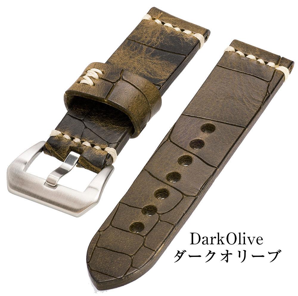時計の存在感を引き上げる極厚な4mm EMPIRE DeepCroco(ディープ・クロコ) 時計 ベルト 革 パネライなどの大型ケースによく合う ハンドメイド イタリアンレザー 本革 バンド 22mm 24mm