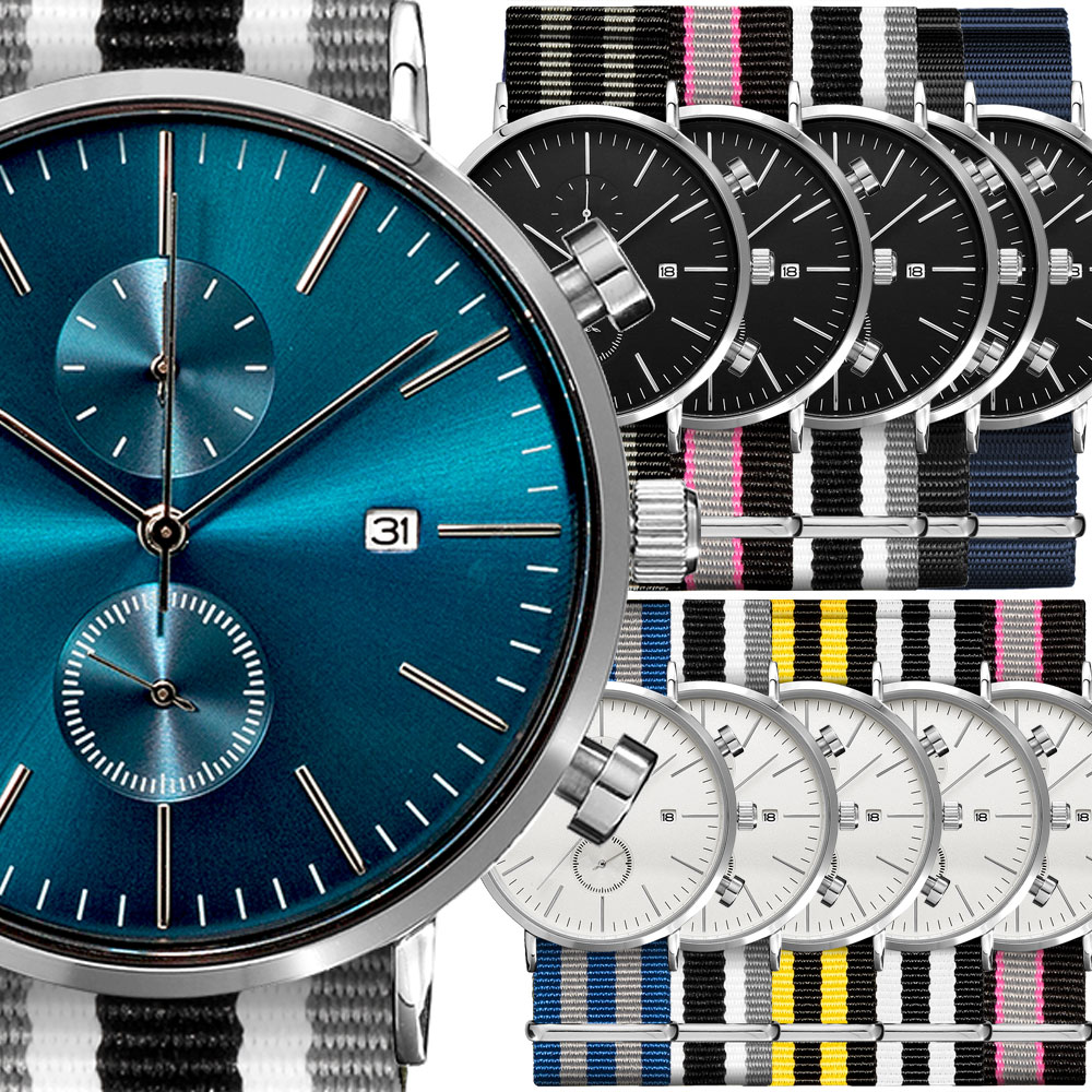 ClassicRound CHRONO 41mm クロノグラフ 腕時計 メンズ + ナイロン NATO ベルト付