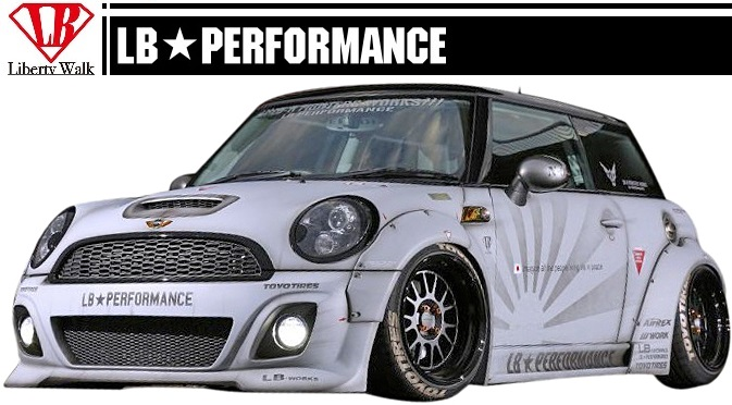 MINI R56 LB STANCE Aero Side Skirts S Spoiler BMW Mini Cooper PERFORMANCE WORKS Body Kit FRP Liberty Walk