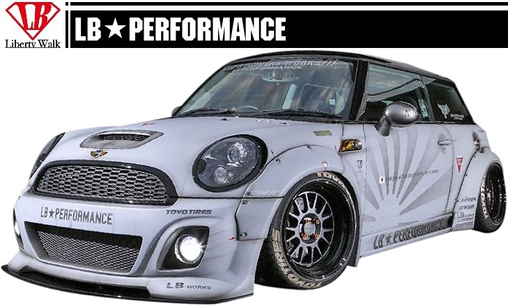 MINI R56 LB STANCE Aero Front Bumper F Spoilers BMW Mini Cooper PERFORMANCE WORKS Body Kit FRP Liberty Walk