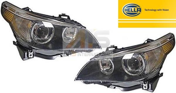 【M's】E60 E61 BMW 5シリーズ 中期(2005年2月-2007年3月)HELLA製 バイキセノン ヘッドライト (左右)//純正OEM 525i 530i 540i 550i M5 セダン ワゴン 6312-7160-195 6312-7160-196 63127160195 63127160196 日本仕様 車検対応品 ※ アクティブコーナリングライト無