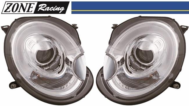 【M's】BMW ミニ R55/R56/R57/R58/R59(06y-14y)ZONE RACING製 F56-ルック Bi-ハロゲン プロジェクター ヘッドライト Type-1(クリアークロム LEDライトバー ポジションライト付//MINI ゾーンレーシング 291500