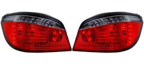 【M's】BMW E60 5シリーズ (~07y・前期) 08y~ 後期ルック LED テールレンズ左右(クリア スモーク ・レッド/タイプ-4)新品