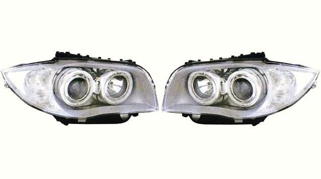 【M's】E87 BMW 1シリーズ ~07y 4-リング プロジェクター 4灯 ハロゲンヘッドライトキット タイプ-1(クリスタル ホワイトリング付/クリア・シルバー)新品