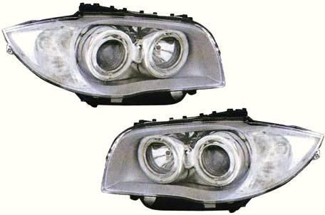 【M's】E87 BMW 1シリーズ ~07y 4-リング プロジェクター 4灯 キセノンヘッドライト(LOビーム:6000K/HIビーム:ハロゲン) タイプ-1(ホワイトリング付/クリア・シルバー)新品